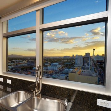 Window over the sink in one of the homes at The Ogden with Views of the Las Vegas Strip