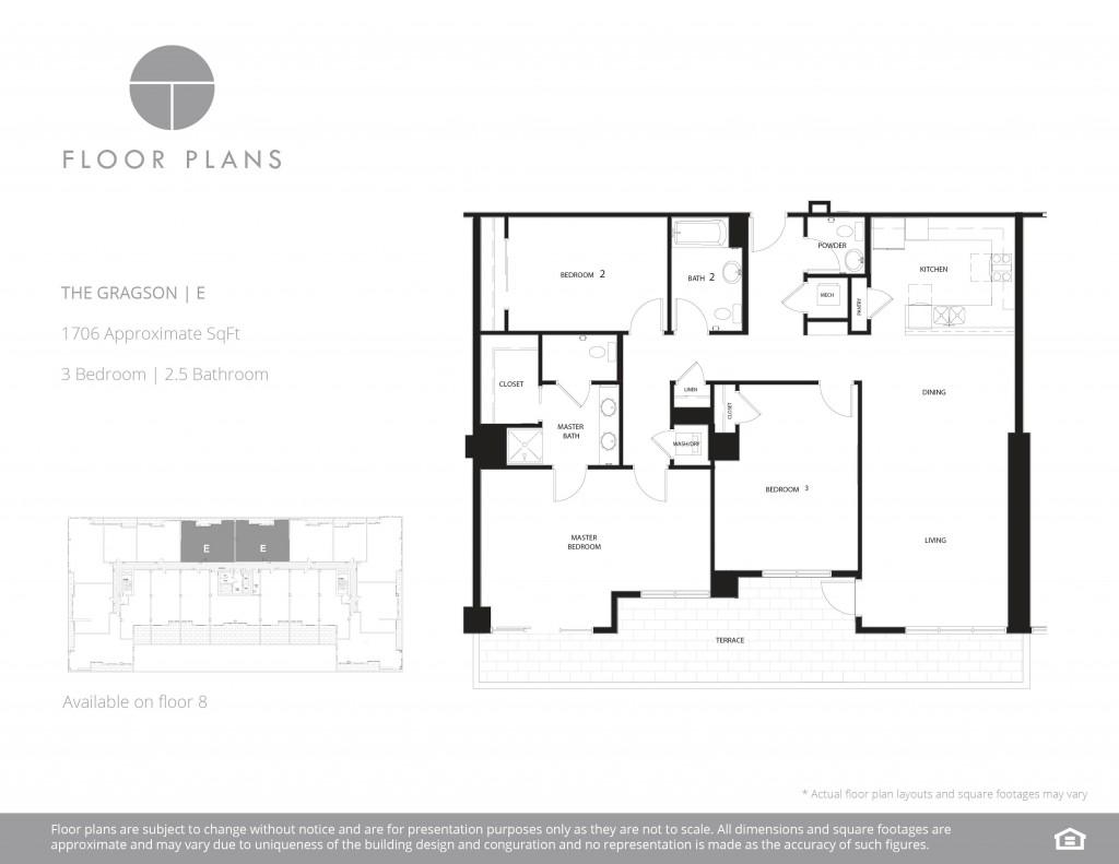 Square Kitchen Floor Plans The Residences At The Ogden Floorplans