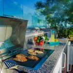 Grills available for residents on the Sky Deck at The Ogden in Downtown Las Vegas