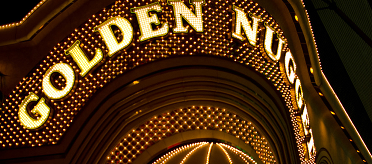 Outside view of the Golden Nugget Hotel sign on Fremont Street.