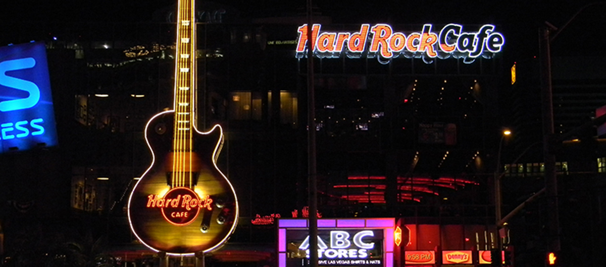 Exterior view of the Hard Rock Cafe in Las Vegas on the Strip.
