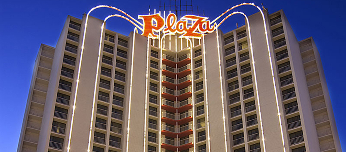 Outside view of the Plaza Hotel located in Downtown Las Vegas.