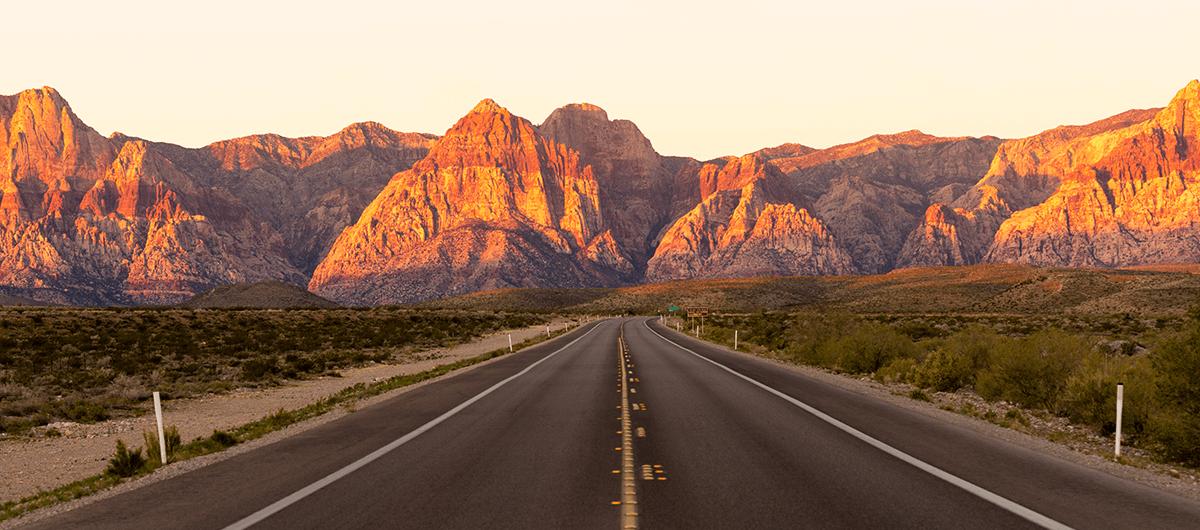 Two Lane Road through Red Rock Canyon