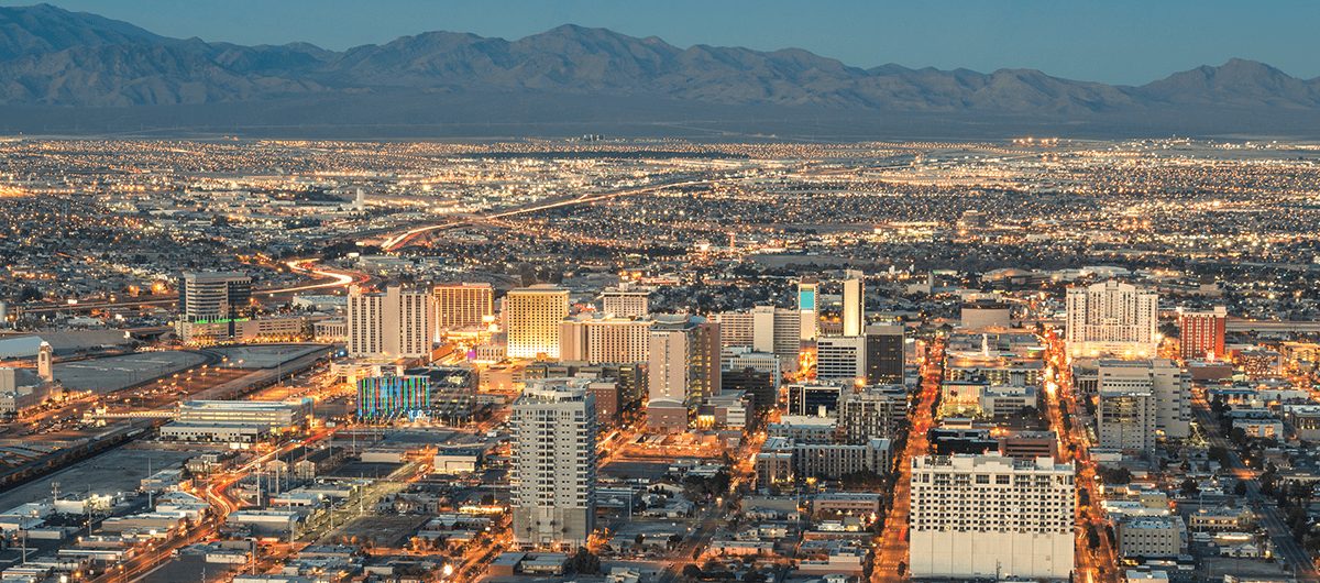 Aerial View of Businesses in Downtown Las Vegas