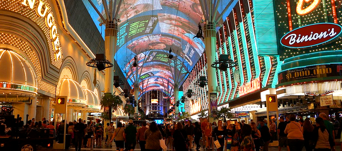 View of the Fremont Street Experience from the Golden Nugget and beyond.