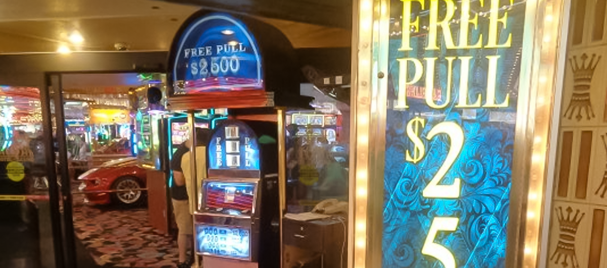 Free slot machine located between Binion's and Four Queens in Downtown Las Vegas.