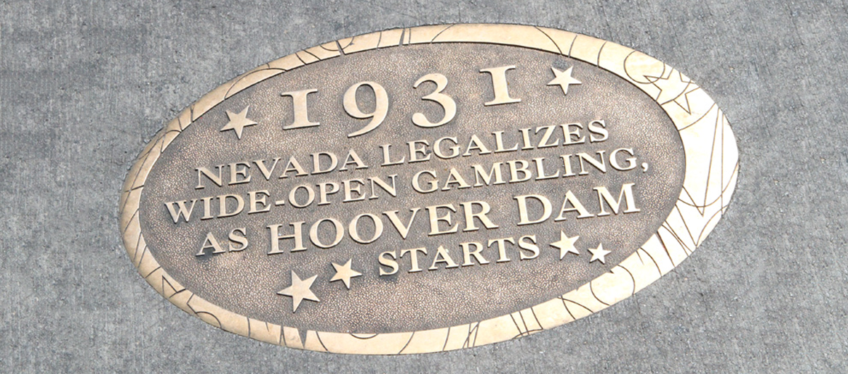The Las Vegas timeline medallions, embedded in the sidewalks of Downtown Las Vegas.