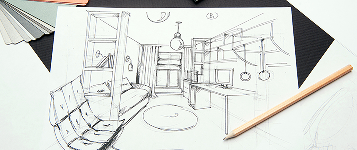 Sketch of interior design for a new home