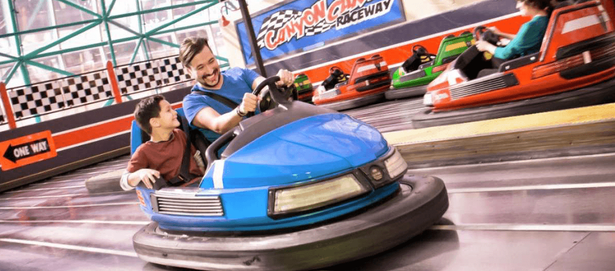 Father and son enjoy the bumper cars at the Adventuredome in Las Vegas.