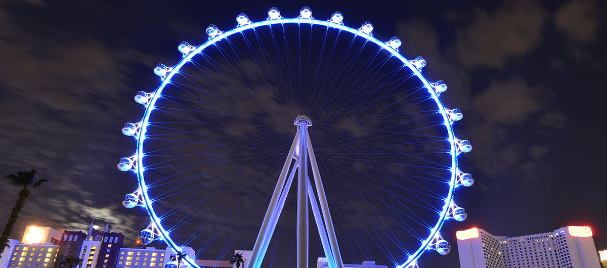 View of the High Roller at Linq Promenade in Las Vegas