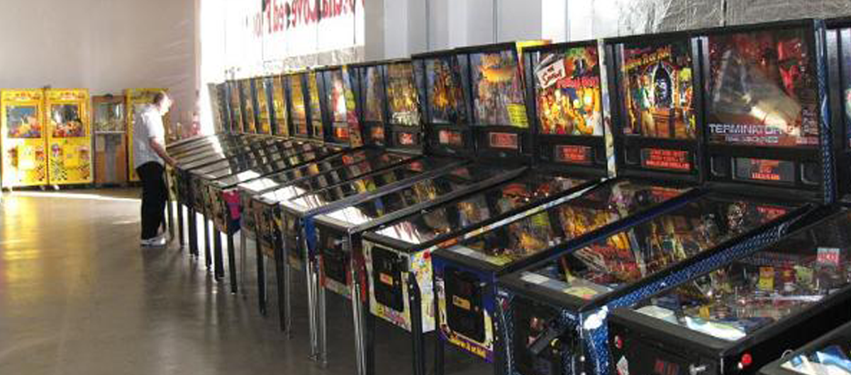 Interior view of the pinball machines inside the Pinball Hall of Fame in Las Vegas.