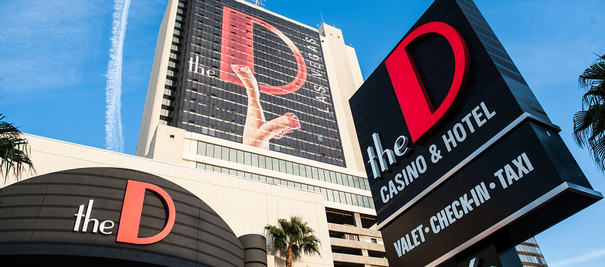 Exterior of the D Las Vegas sign and building.