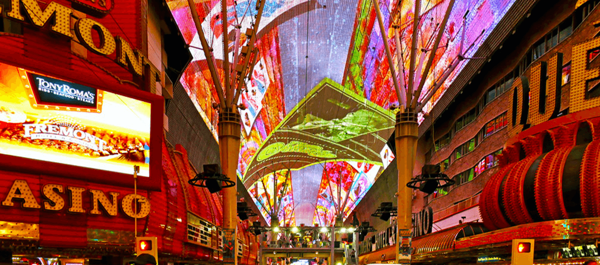 the Viva Vision Light Show on display on the Fremont Street Experience