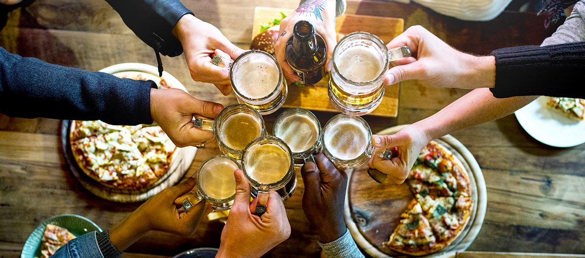 A group of friends enjoying craft beer